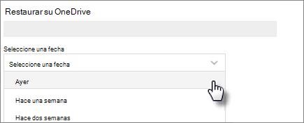 Captura de pantalla de la selección de una fecha en la pantalla Restaurar su OneDrive