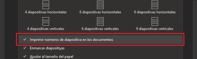 Cuadro de diálogo Imprimir con Imprimir números de diapositiva en documentos resaltados