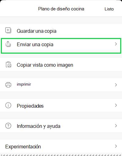 Las opciones enviar una copia en Visio Viewer para iOS.