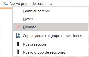 Cuadro de diálogo Eliminar un grupo de secciones en OneNote para Windows