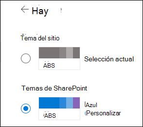 Seleccionar un tema nuevo para el sitio de SharePoint