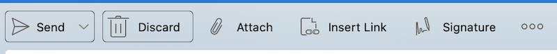 Botones Enviar y Descartar en la barra de herramientas