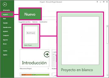 Imagen del botón para crear un proyecto en blanco