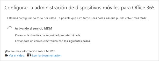 Progreso de la instalación MDM