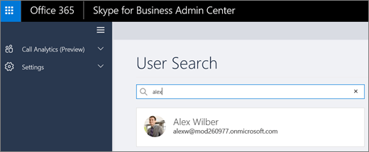 Captura de pantalla del cuadro de búsqueda de usuario de análisis de llamada en la Skype centro de administración de la empresa.