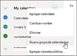Captura de pantalla del botón Nuevo grupo de calendarios.