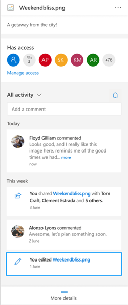 El panel de detalles de un archivo de OneDrive.