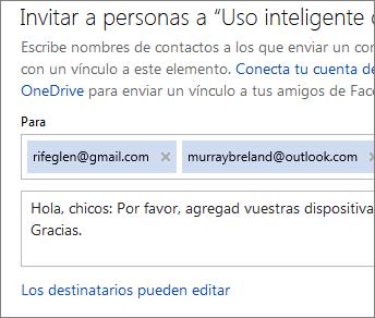 Escribir direcciones de correo electrónico y un mensaje para enviar un correo electrónico a un vínculo
