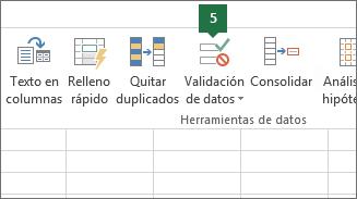 Validar la lista desplegable haciendo clic en Datos > Validación de datos en Excel