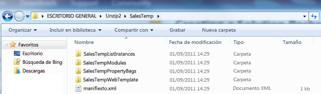 Captura de pantalla del Explorador de Windows que muestra un paquete de soluciones web descomprimido ( .wsp).