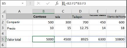 Ejemplo de fórmula de matriz que calcula varios resultados