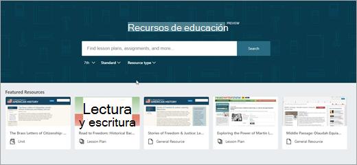 Segunda versión de la pantalla principal de OneNote EDU recursos