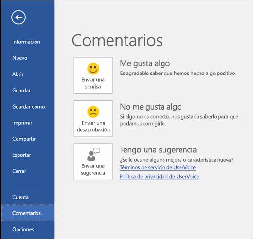 Haga clic en Archivo > Comentarios para enviarnos sus comentarios o sugerencias acerca de Microsoft Visio