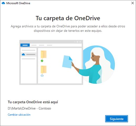 Pantalla Esta es tu carpeta de OneDrive del asistente Bienvenido a OneDrive