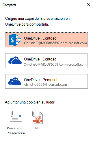 Si aún no ha guardado la presentación en OneDrive o SharePoint, le pedirá que lo haga.