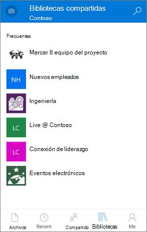 Acceso a sitios de la aplicación OneDrive para la empresa móvil