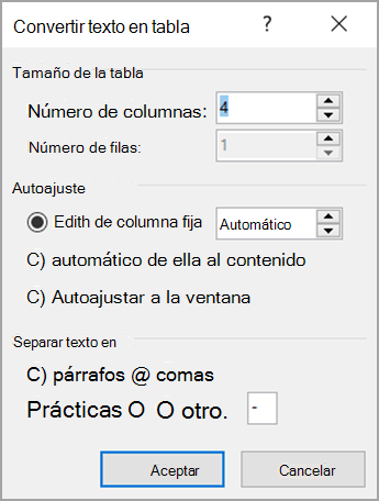 Convertir texto en tabla