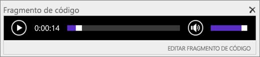 Captura de pantalla de SharePoint Online con la barra de control de audio de fragmento de código en la que se muestra la duración total de un archivo de audio y que proporciona el control para iniciar y detener la reproducción del archivo.