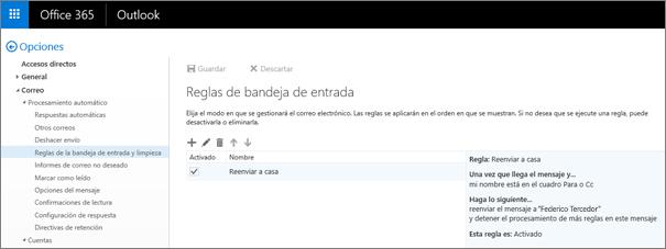 Muestra el área Reglas de la Bandeja de entrada de la opción Reglas de limpieza y de la Bandeja de entrada en las opciones de correo de Office 365. Puede crear, editar y eliminar reglas de la Bandeja de entrada para controlar el correo electrónico.