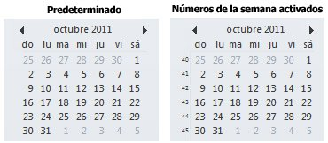 Navegador de fechas en la barra Tareas pendientes con y sin los números de la semana