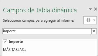 Panel Campo de la tabla dinámica que muestra los resultados de una búsqueda