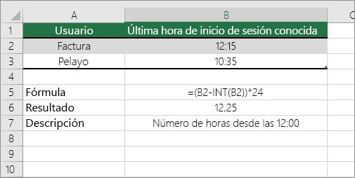 Ejemplo: Convertir horas en formato de hora estándar en el formato de número decimal