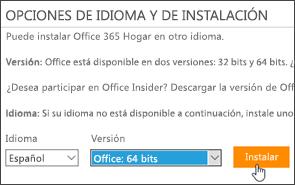 Captura de pantalla en la que se muestran las opciones de idioma y versión, así como el botón Instalar