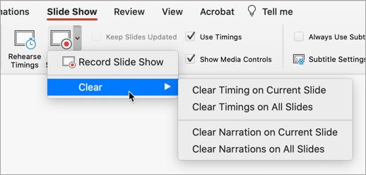 Borrar las opciones de la presentación con diapositivas de grabación