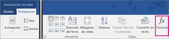 La opción Fórmula está resaltada en la pestaña Diseño de herramientas de tabla.