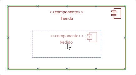 Almacenar de forma subsistema con componente orden arrastrado en la parte superior