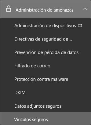 Menú de administración de amenazas en el Centro de seguridad y cumplimiento de Office 365