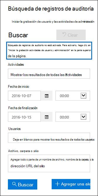 Un mensaje es dispayed si la auditoría está desactivada.