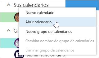 Captura de pantalla del menú contextual para Otros calendarios, con Abrir calendario seleccionado.
