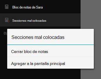 El comando Cerrar Bloc de notas en OneNote para Android