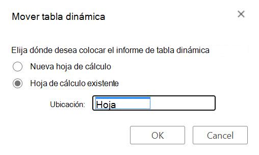 El cuadro de diálogo mover tabla dinámica en Excel para la Web.