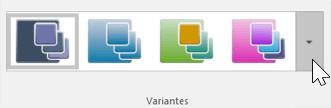 Captura de pantalla de la vista de la barra de herramientas Diseño > Temas > Variantes