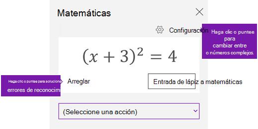 Una ecuación en el panel de tareas de matemáticas