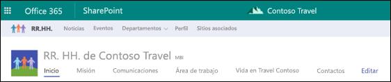 Navegación compartida del sitio Hub de SharePoint