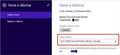 Hora establecida de Windows 8 con hora universal coordinada (UTC) resaltada