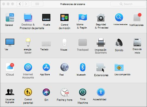Captura de pantalla de preferencias del sistema en un equipo Mac