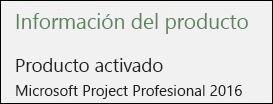 Información del producto: Project Profesional 2016