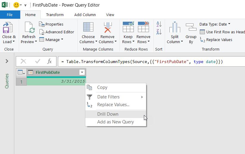 Menú contextual del editor de Power Query para un valor de campo