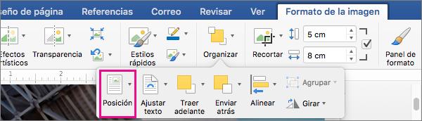 Haga clic en Posición para establecer la posición de la tabla con respecto al texto adyacente.