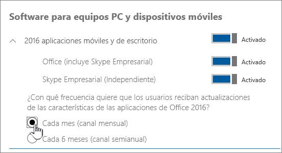 Configurar las compilaciones de canal mensual para los usuarios de PC