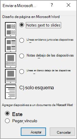 Cuadro Enviar a Microsoft Word