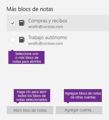 Captura de pantalla de la ventana Más blocs de notas en OneNote