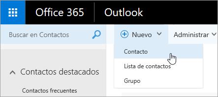 Captura de pantalla del menú contextual para el botón ' nuevo ', con la selección ' contacto '.