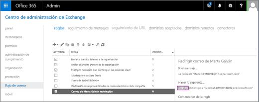 La captura de pantalla muestra la página Reglas del área Flujo de correo en el Centro de administración de Exchange. La casilla Activada está seleccionada en la Regla para redirigir el correo electrónico del usuario Verónica Fuentes.