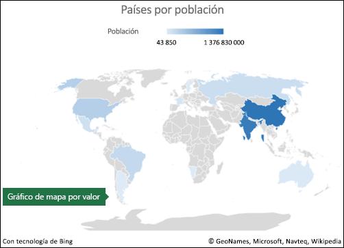 Gráfico de mapa de Excel con datos de valor
