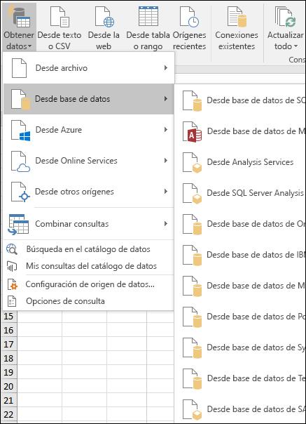 Opciones de obtener y transformar desde la base de datos